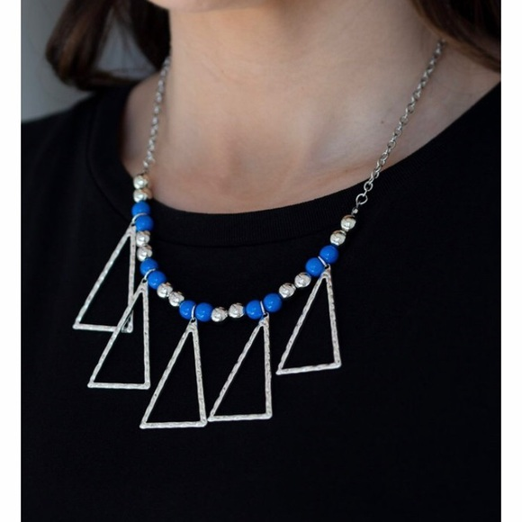 Silver Triangular Necklace with Blue Beads
